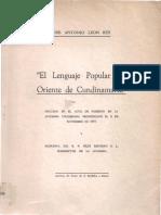 León Rey - 1954 - El lenguaje popular del Oriente de Cundinamarca