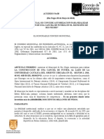 Acuerdo Numero 8 LA CONSTRUCCION DE UNA CANCHA DE FUTBOL EN EL MUNICIPIO DE RIO NEGRO