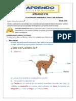 ACTIVIDAD N° 43 Aprendo sobre un animal amenazado por el ser humano