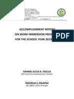 Accomplishment report on SHS immersion Program