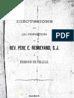 Edmond de Chazal Et Rev E Rebreyand Pere Jesuite Echange de Pamphlets 1874 Swedenborg Et La Nouvelle Jerusalem a L'Ile Maurice Archives Lausanne