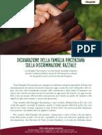 [Italiano]  Dichiarazione della Famiglia Vincenziana sulla discriminazione razziale