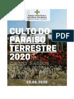 CULTO DO PARAÍSO TERRESTRE 2020 Aula 5