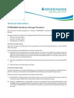 Membranes Storage Procedure