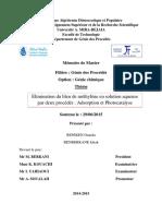Elimination du bleu de méthylène en solution aqueuse par deux procédés  Adsorption et Photocatalyse