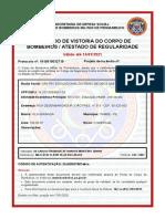 Atestado de Vistoria do Corpo de Bombeiros - CENTRO EDUCACIONAL DO REINO DE DEUS LIMITADA
