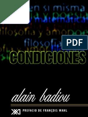 Alain Badiou Condiciones 1992 Infinito Verdad