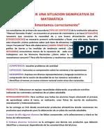 ELABORACION DE UNA SITUACION SIGNIFICATIVA DE MATEMÁTICA