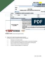 Apellido Paterno A-F Examen Parcial-FORMULACIÓN Y EVALUACIÓN DE PROYECTOS