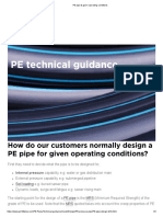 PE pipe & given operating conditions