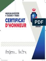 Certificat d'Honneur 2020 - Le Grand Concours