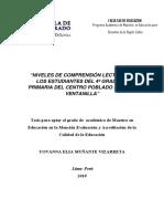 2010_Muñante_Niveles de comprensión lectora en los estudiantes del 4° grado de primaria del Centro Poblado Mi Perú-Ventanilla
