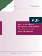 GUIDE DE PREVENTION DES INFECTIONS LIEES AUX SOINS EN MEDECINE DENTAIRE ET EN STOMATOLOGIE