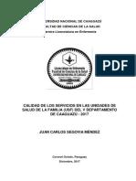 CALIDAD DE LOS SERVICIOS EN LAS UNIDADES DE SALUD DE LA FAMILIA (USF) DEL V DEPARTAMENTO DE CAAGUAZÚ - 2017