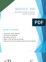 PRESENTACIÓN INDICACIONES DE TRABAJO A DISTANCIA MATEMÁTICAS 805 2020