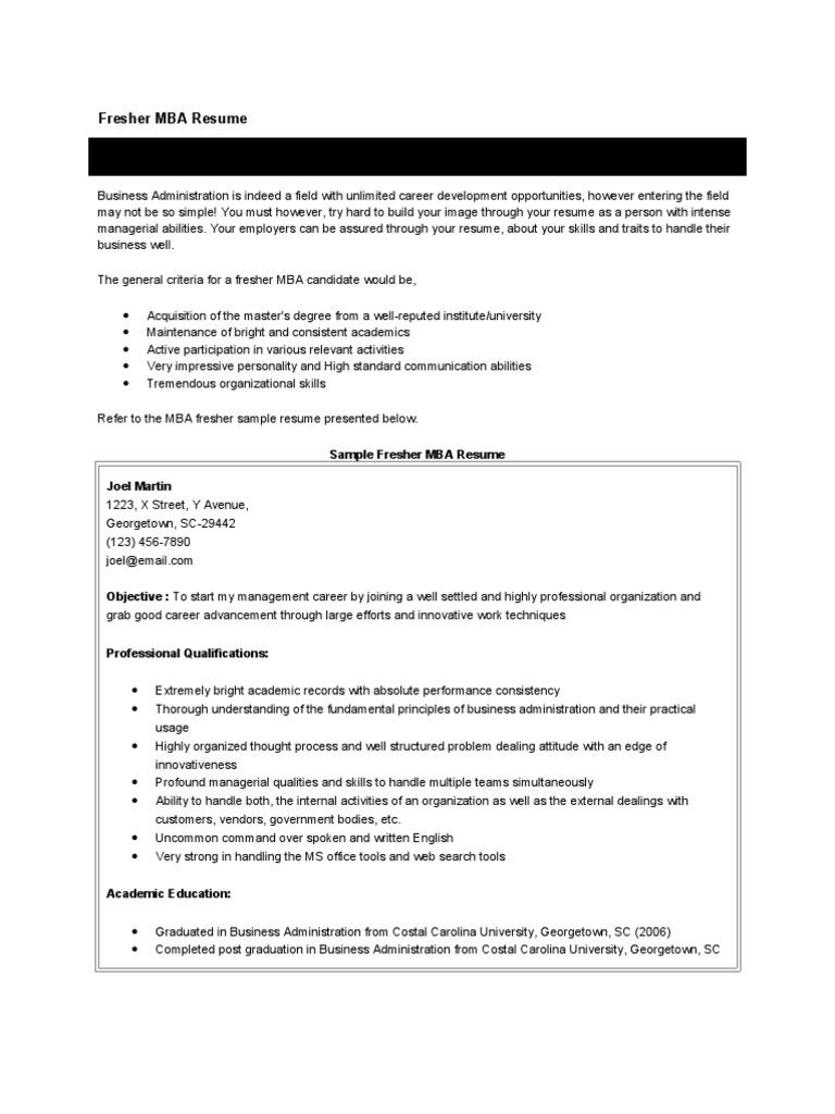 Fresher BBA Resume | Master Of Business Administration | Marketing