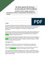 Reactivación de Obras Puerto de Paracas Representa Una Inversión de US