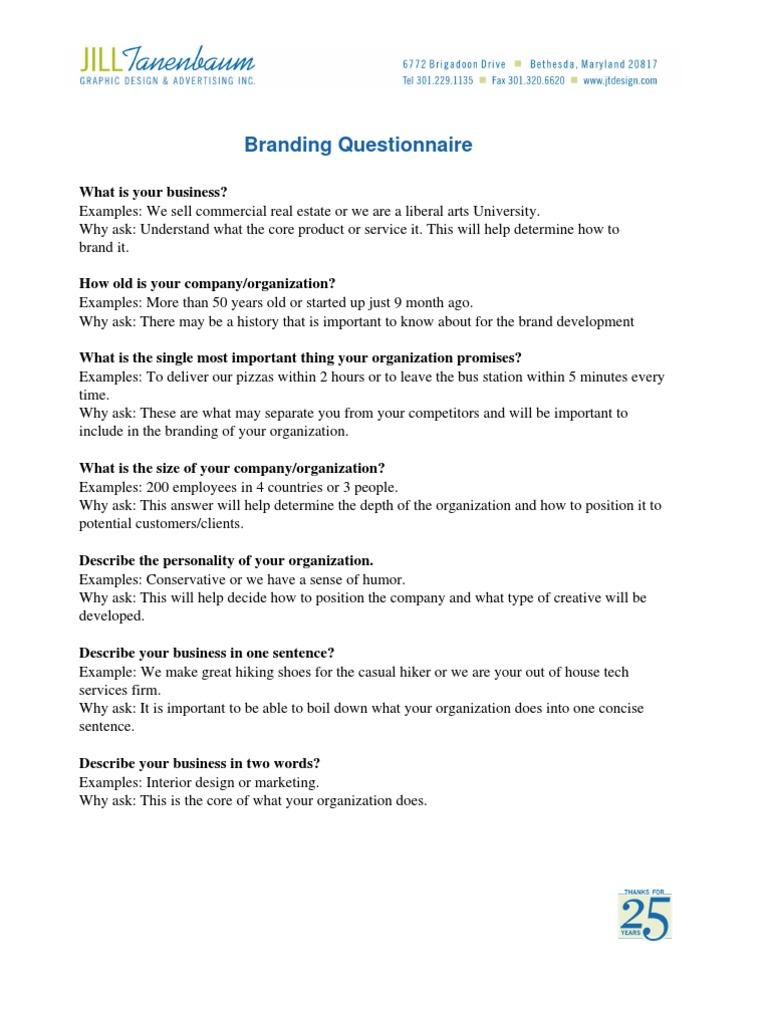 Branding Questionnaire (1) | Brand | Advertising
