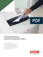 HSM Technika Biurowa Cennik Produktów 2020