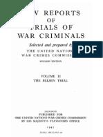 Law Reports of the Trials of War Criminals - Volume II 1947