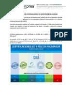 Certificaciones internacionales ISO 9001 en Gestión de la Calidad en Nicaragua
