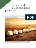 Viaje sin retorno al planeta Marte planeado para 2025