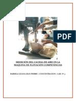MEDICIÓN DEL CAUDAL DE AIRE EN LA MAQUINA DE FLOTACIÓN COMPETENCIAS Nº 2