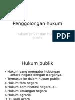 Penggolongan hukum (PIH)