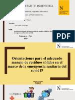 ORIENTACIONES PARA EL ADECUADO MANEJO DE RESIDUOS SÓLIDOS EN EL MARCO DE LA EMERGENCIA SANITARIA DEL COVID – 19
