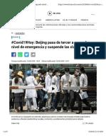 Beijing pasa de tercer a segundo nivel de emergencia y suspende las clases