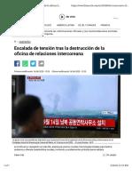 Escalada de tensión tras la destrucción de la oficina de relaciones intercoreana