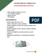 ELABORACIÓN DE MASCARILLA DE TELA 2020