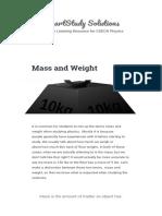 Mass and Weight - CSEC Physics