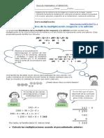 Guía de matematica  4° BASICOS Propiedad distributiva de la multiplicación respecto a la adición