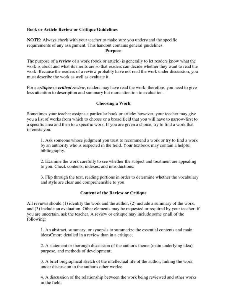 book article review critique guidelines