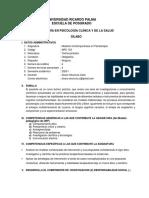 Sílabo por competencias - Modelos contemporáneos en psicoterapia