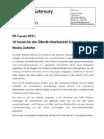 PR-Trends 2011 - 10 Trends für die Öffentlichkeitsarbeit 2.0 im Social Media Zeitalter