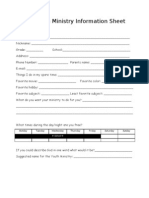 Youth Ministry Information Sheet