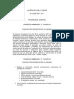 Programa de Gobierno Luis Ernesto Velez alcalde 2008-2011