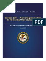 DOJ's Section 230 Report - Takeaways & Recommendations