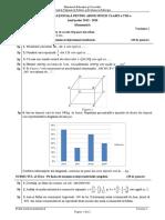 Evaluarea Nationala, clasa a VIII-a 2020 Matematica
