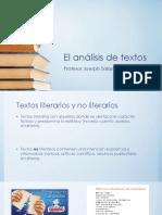 El análisis de textos, Joseph Salazar