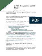 Registro del Plan de Vigilancia COVID