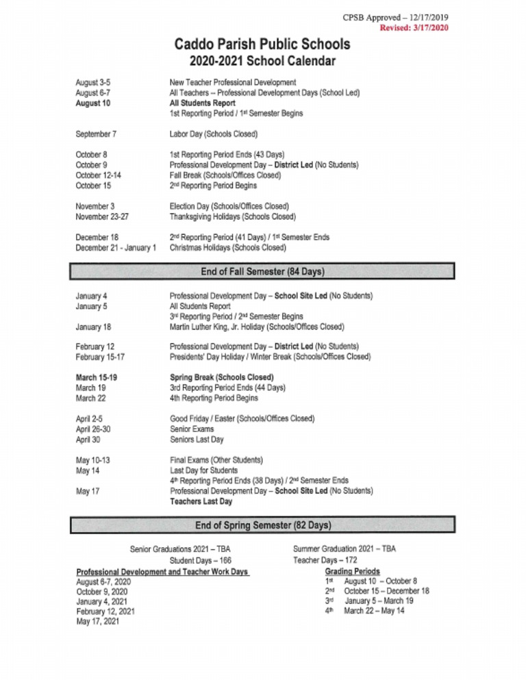 Caddo School District calendar for the 2020 21 academic year (last