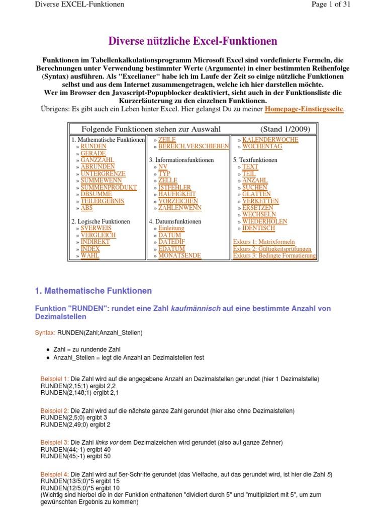 Excel - Funktionen Beispiele und Erklärung