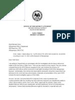 Letter to Chief Geier Re Steven Baca