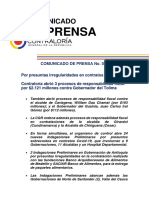 17jun2020-Comunicado de Prensa 077-CGR Abrió Procesos Responsabilidad Fiscal Contra Gobernador Del Tolima