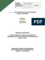 TÉRMINOS DE REFERENCIA AL362019 SUMINISTRO Y MONTAJE DE ELEMENTOS COMPLEMENTARIOS SISTEMA RECUPERACIÓN AGUAS LLUVIAS.pdf