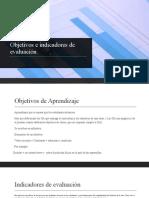Objetivos e indicadores de evaluación
