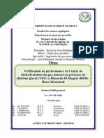 éthylène glycol (TEG) à Rhourde El-Baguel (REB)